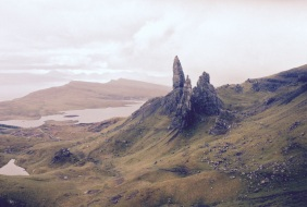 Bodach an Stòrr (The Old Man of Storr) The folklore of the Western Isles often describes the formation of the surrounding landscape as the result of the exploits between fairies and giants, and their ill-fated conflicts with Men. One such story explains that the geological oddity known as the 'Old Man of Storr' on the north of Skye is in fact the thumb of a giant who died and became buried in the earth. Another version is that whilst fleeing from attackers, two giants, an old man and his wife, made the unfortunate decision to look back and as they did so were turned to stone.